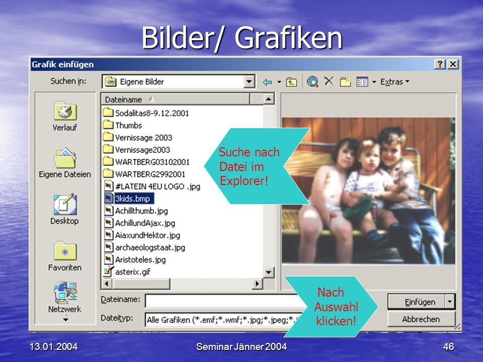 13.01.2004Seminar Jänner 200446 Bilder/ Grafiken Nach Auswahl klicken.