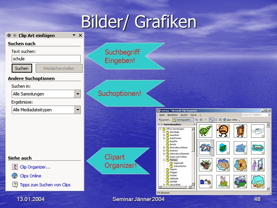 13.01.2004Seminar Jänner 200448 Bilder/ Grafiken Suchbegriff Eingeben.