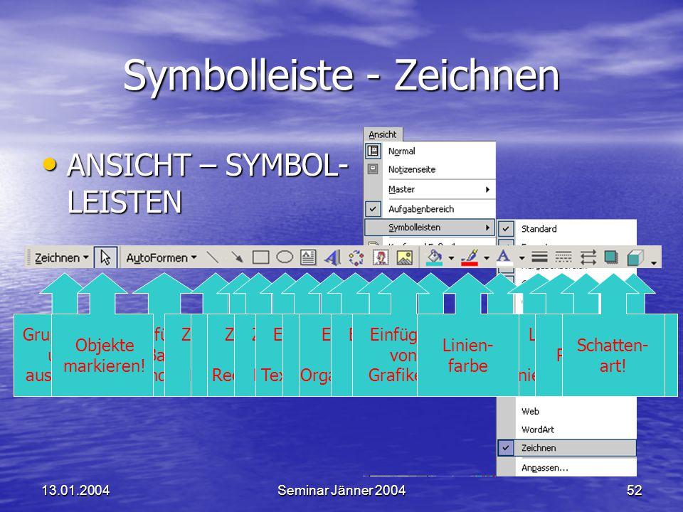 13.01.2004Seminar Jänner 200452 Füllfarbe von Objekten.