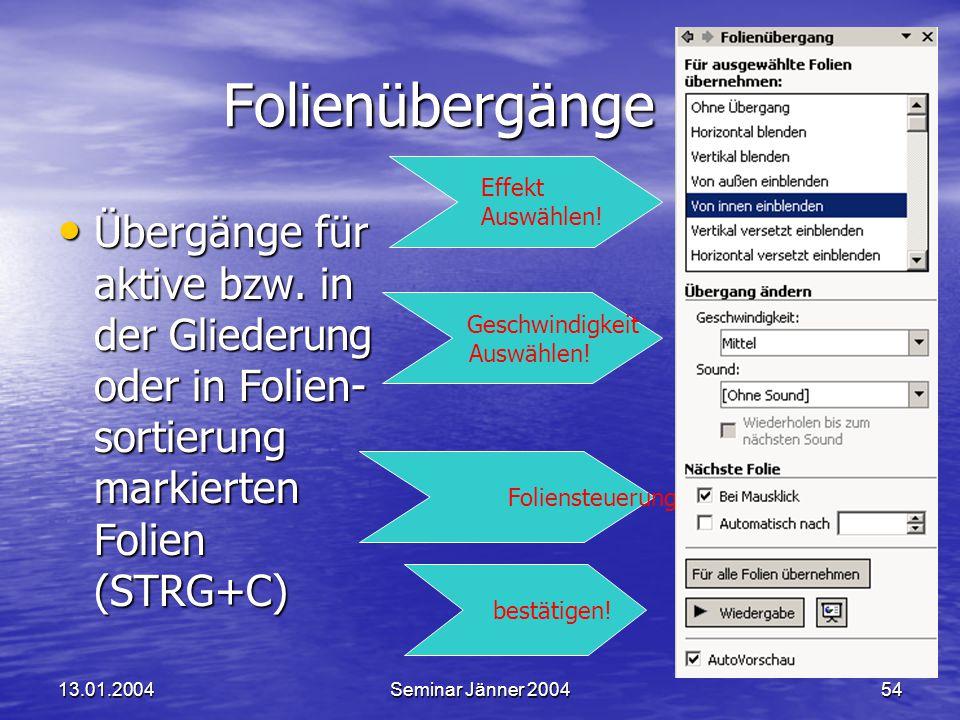 13.01.2004Seminar Jänner 200454 Folienübergänge Folienübergänge Geschwindigkeit Auswählen.