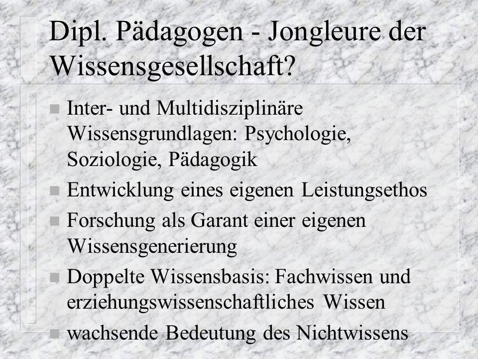 Dipl. Pädagogen - Jongleure der Wissensgesellschaft.