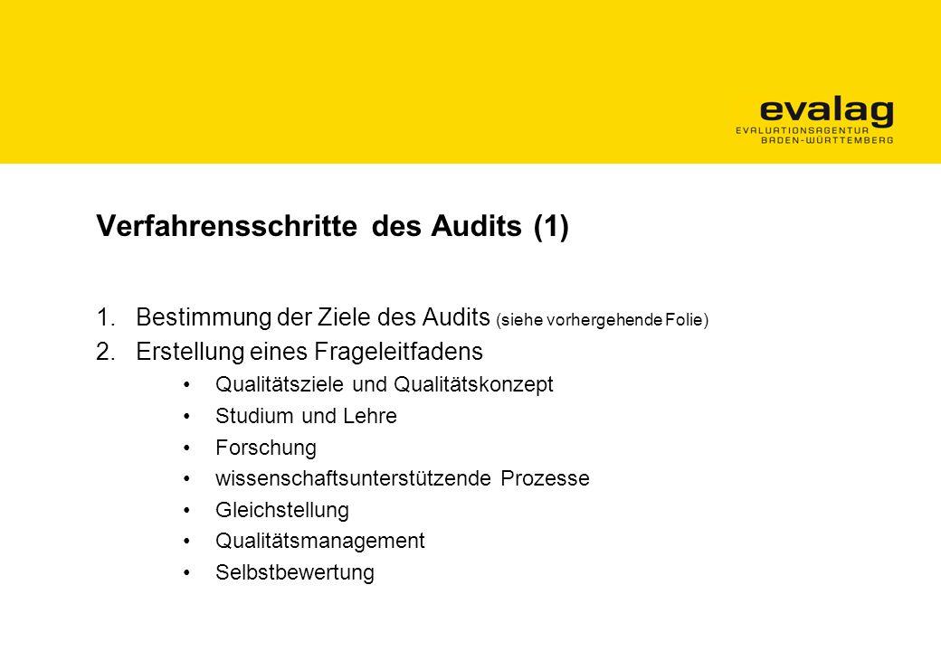 Verfahrensschritte des Audits (1) 1.Bestimmung der Ziele des Audits (siehe vorhergehende Folie) 2.Erstellung eines Frageleitfadens Qualitätsziele und Qualitätskonzept Studium und Lehre Forschung wissenschaftsunterstützende Prozesse Gleichstellung Qualitätsmanagement Selbstbewertung