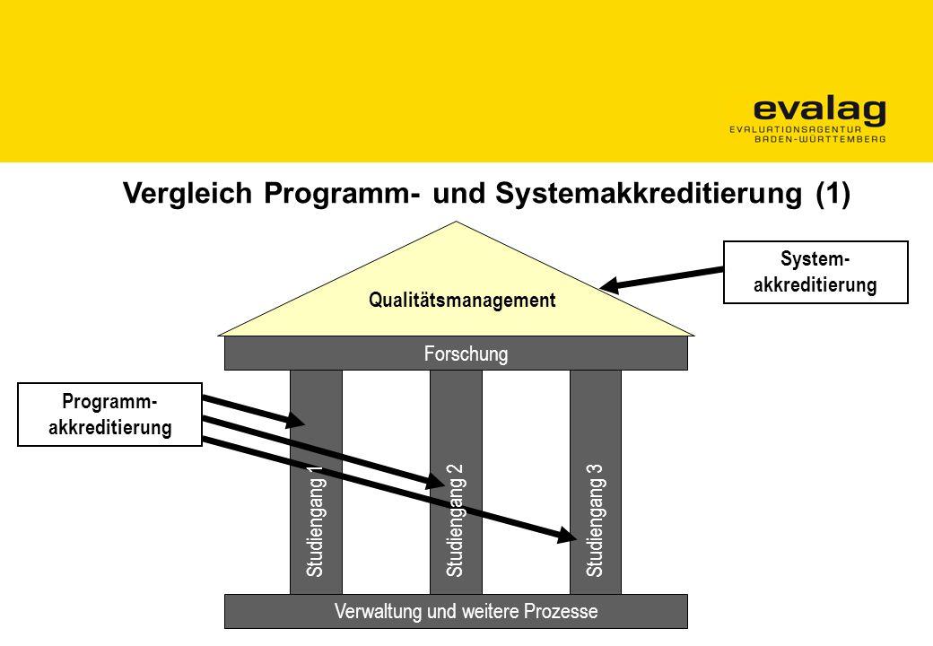 Verwaltung und weitere Prozesse Studiengang 1Studiengang 2Studiengang 3 Qualitätsmanagement Programm- akkreditierung System- akkreditierung Forschung Vergleich Programm- und Systemakkreditierung (1)