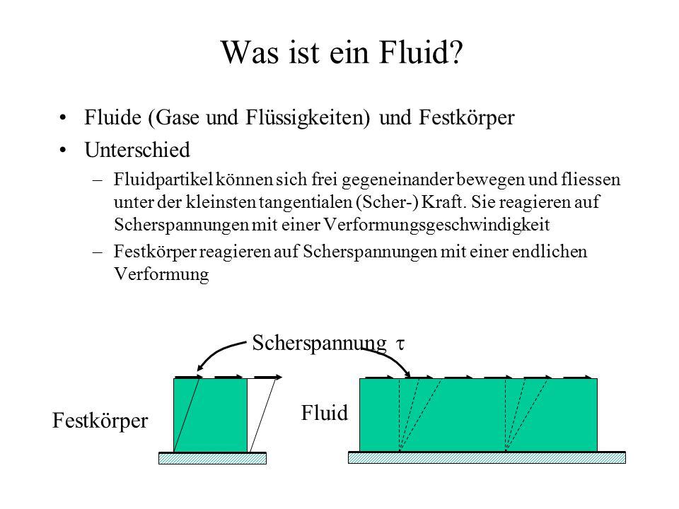 Was ist ein Fluid? Fluide (Gase und Flüssigkeiten) und Festkörper Unterschied –Fluidpartikel können sich frei gegeneinander bewegen und fliessen unter