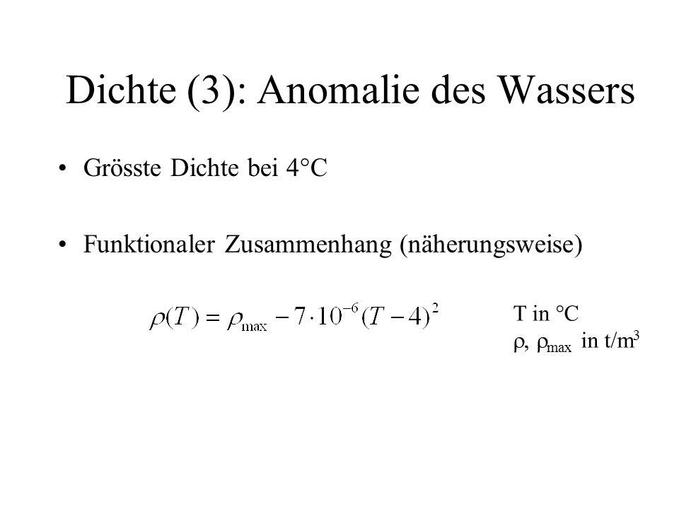 Dichte (3): Anomalie des Wassers Grösste Dichte bei 4°C Funktionaler Zusammenhang (näherungsweise) T in °C  max in t/m 3
