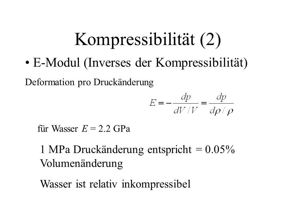 Kompressibilität (2) E-Modul (Inverses der Kompressibilität) Deformation pro Druckänderung für Wasser E = 2.2 GPa 1 MPa Druckänderung entspricht = 0.0