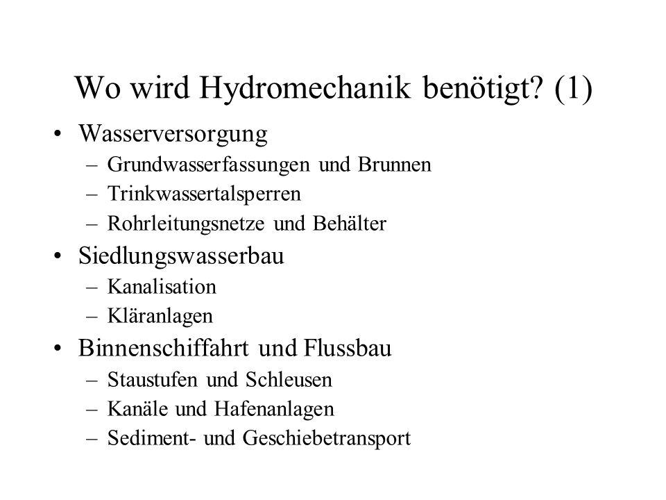 Wo wird Hydromechanik benötigt? (1) Wasserversorgung –Grundwasserfassungen und Brunnen –Trinkwassertalsperren –Rohrleitungsnetze und Behälter Siedlung