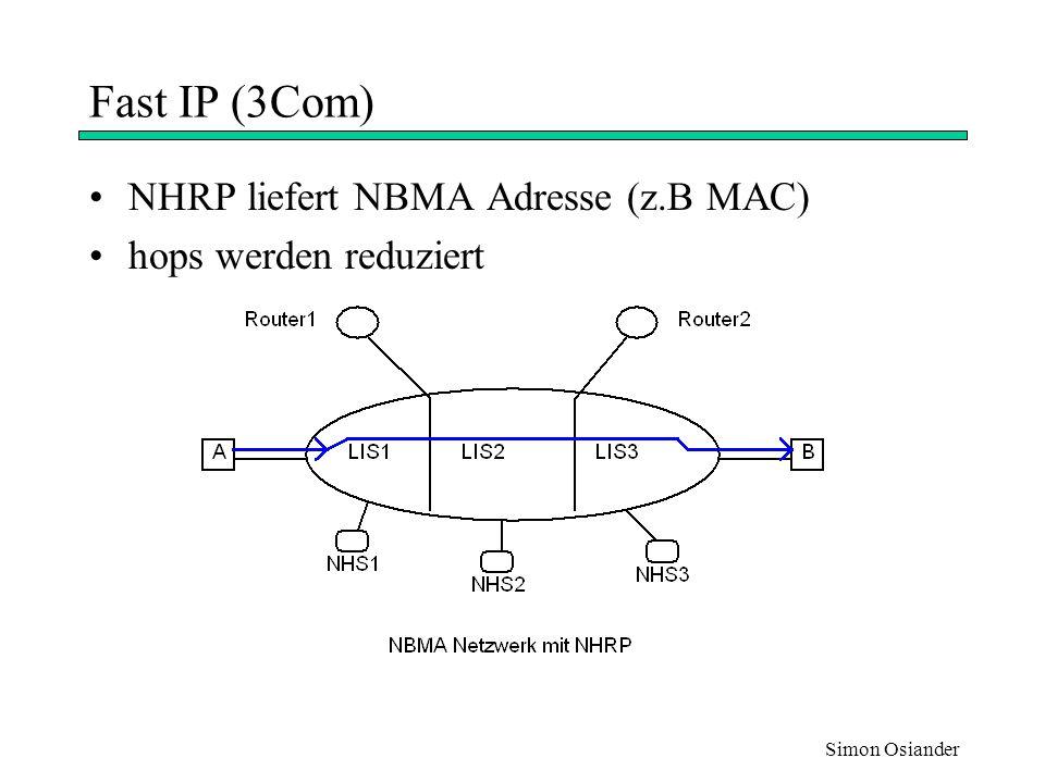 Simon Osiander B erhält Request und schickt Response zurück Nicht geroutet, sondern über Switches A erhält die NHRP Response und leitet den Verkehr zu Host B um Fast IP (3Com) A möchte Daten zu B schicken B ist in anderem Subnetz A startet standard IP Übertragung Gleichzeitig NHRP Request in Richtung B