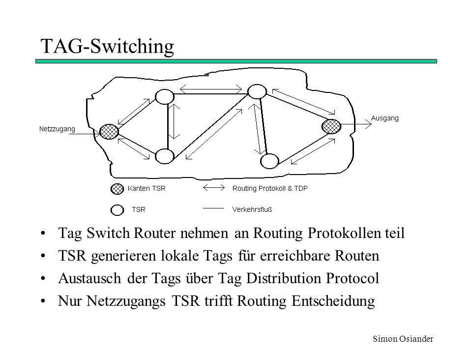 Simon Osiander Weiterleitungkomponente 1 Tag-Information kann in einem Paket auf verschiedene Weisen Tranpotiert werden Tag-Header zwischen Schicht 2 und 3 Header Als Teil des Schicht 2 Header (ATM) Als Teil des Schicht 3 Header (Flußlabelfeld in IPv6) Weiterleitungsinformation steht in Tag Information Base Eintrag besteht aus: eingehendes Tag ausgehendes Tag ausgehende Schnittstelle ausgehende Verbindungsinformation (z.B.