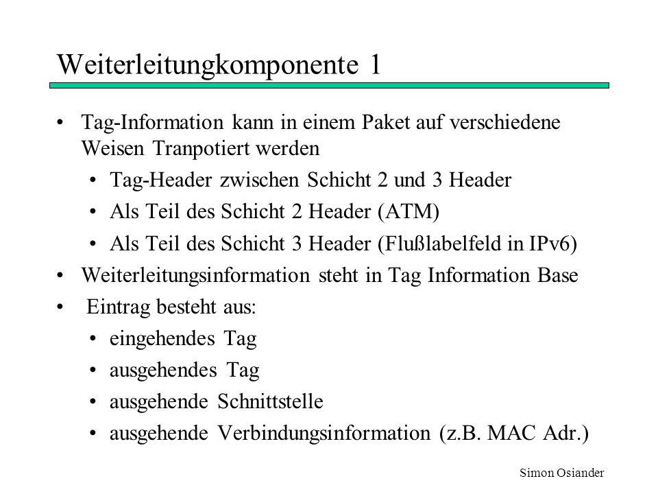 Simon Osiander Weiterleitungkomponente 2 Weiterleitungsoperation basiert auf Label-Swapping