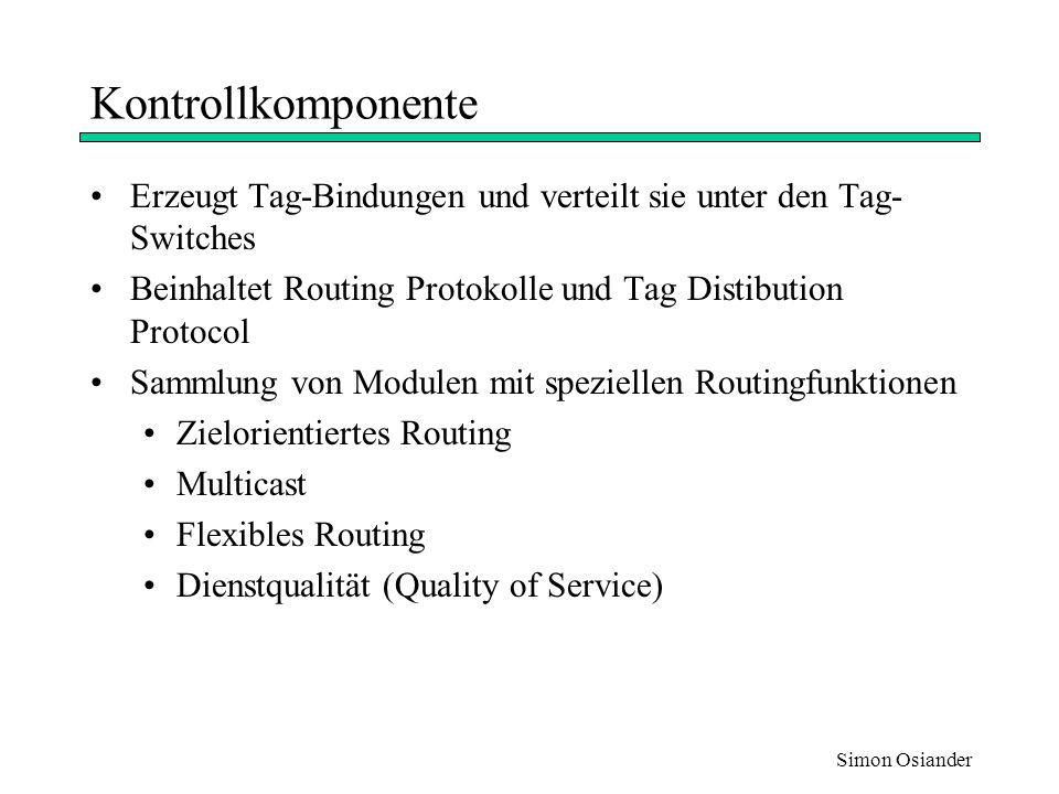 Simon Osiander MPLS Standardisierung der IETF für label switching Ziele: –Besseres Preis/Performance von Netzwerkschicht Routing –Skalierbarkeit des Schicht 3 Routings –Flexibilität in der Auslieferung von Routing Services kein spezifisches Schicht 3 Protokoll Unterstützung für viele Schicht 2 Technologien ( Frame Relay, ATM, Ethernet, Token Ring)