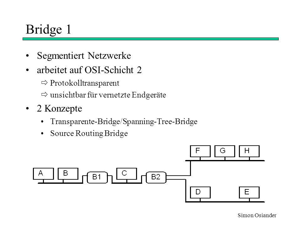Simon Osiander Bridge 2 Transparente Bridge Einfache Installation Problem bei mehreren Switches: Schleifen  Spanning Tree schlechte Nutzung der Bandbreite Source-Routing-Bridge –angeschlossene Maschinen müssen Routen kennen –Rahmen trägt High-Order-Bit und Route
