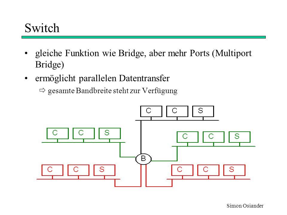 Simon Osiander Switch - Interner Aufbau Matrix Switch –alle Ports sind miteinander verbunden –im Switch werden direkte Verbindungen geschaltet Backplane Switch –gemeinsamer Hochgeschwindigkeitsbus für alle Ports