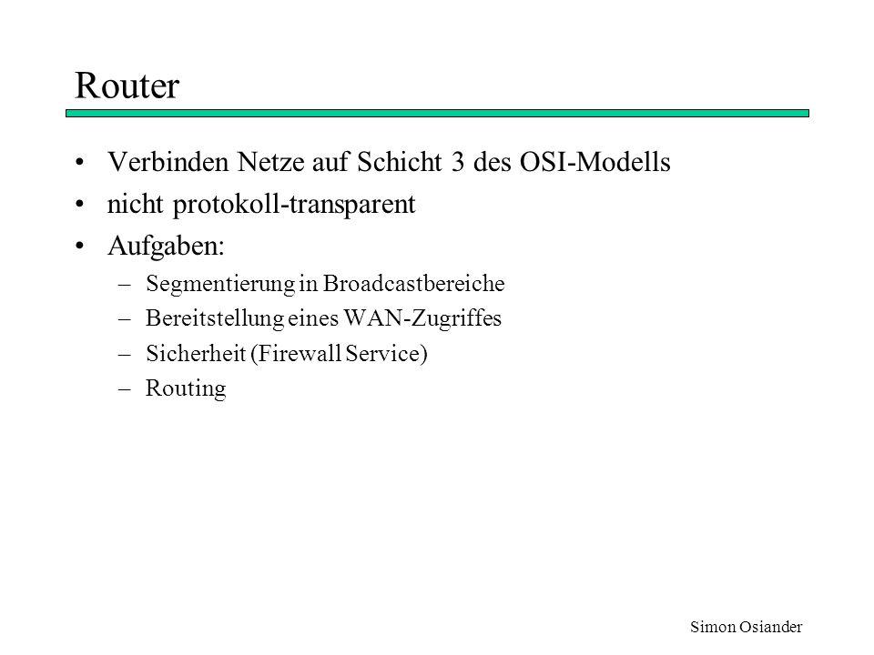 Simon Osiander Routing Prozeß der optimalen Wegwahl von Datenpaketen statisches Routing –Routen sind fest vorgegeben dynamisches Routing –Routen werden neu ermittelt –Router tauschen untereinander Informationen mit Hilfe von Routing-Protokollen aus ( z.B OSPF, RIP )