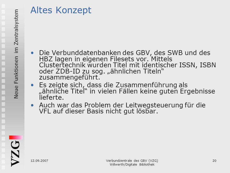 VZG Neue Funktionen im Zentralsystem 12.09.2007Verbundzentrale des GBV (VZG) Willwerth/Digitale Bibliothek 20 Altes Konzept Die Verbunddatenbanken des