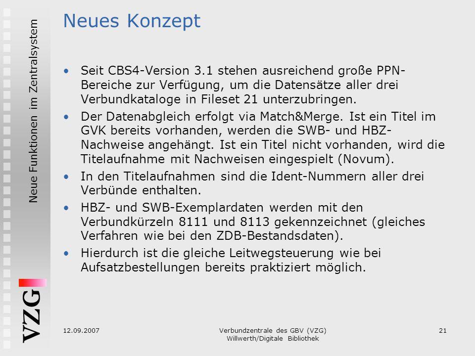 VZG Neue Funktionen im Zentralsystem 12.09.2007Verbundzentrale des GBV (VZG) Willwerth/Digitale Bibliothek 21 Neues Konzept Seit CBS4-Version 3.1 steh