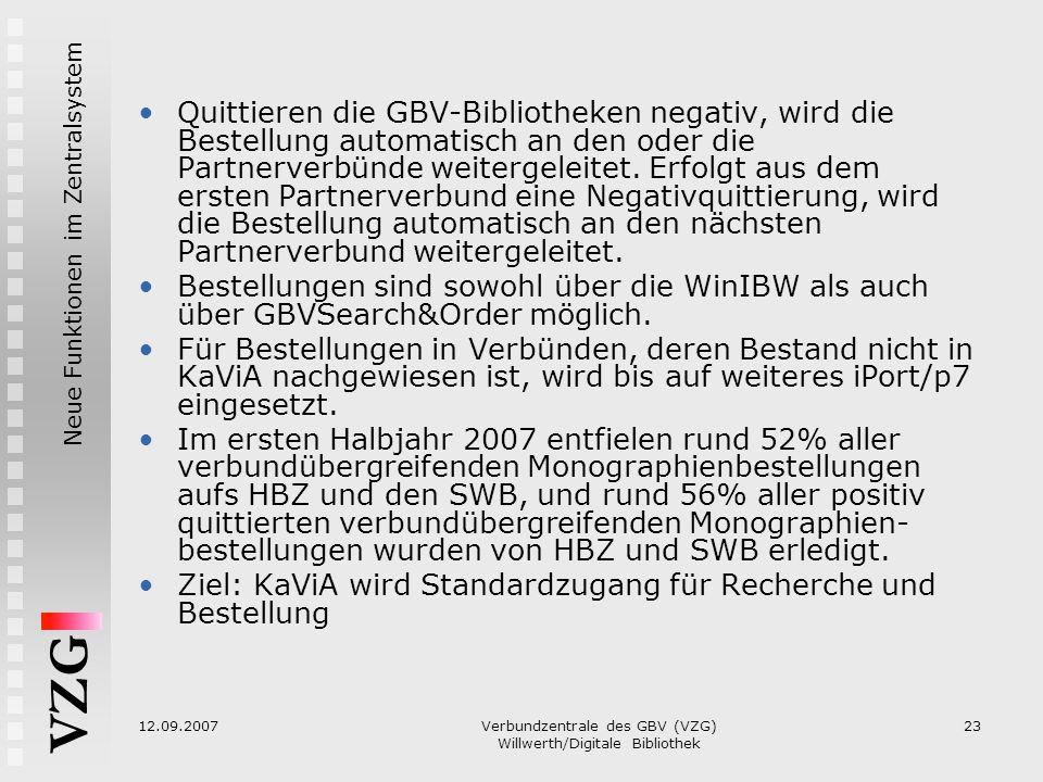 VZG Neue Funktionen im Zentralsystem 12.09.2007Verbundzentrale des GBV (VZG) Willwerth/Digitale Bibliothek 23 Quittieren die GBV-Bibliotheken negativ,