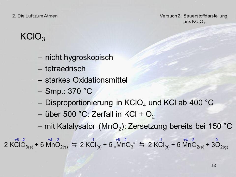 18 KClO 3 –nicht hygroskopisch –tetraedrisch –starkes Oxidationsmittel –Smp.: 370 °C –Disproportionierung in KClO 4 und KCl ab 400 °C –über 500 °C: Ze