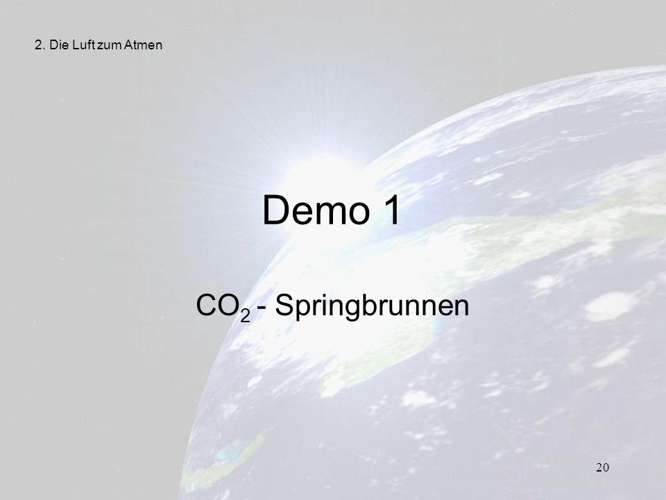 20 Demo 1 CO 2 - Springbrunnen 2. Die Luft zum Atmen
