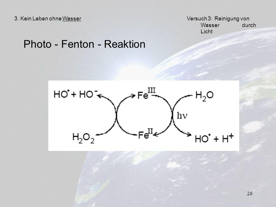 26 Photo - Fenton - Reaktion 3. Kein Leben ohne WasserVersuch 3: Reinigung von Wasser durch Licht