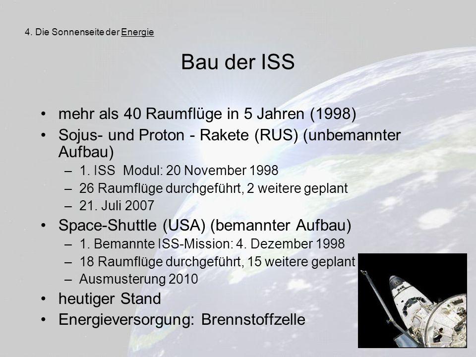 31 Bau der ISS mehr als 40 Raumflüge in 5 Jahren (1998) Sojus- und Proton - Rakete (RUS) (unbemannter Aufbau) –1. ISS Modul: 20 November 1998 –26 Raum