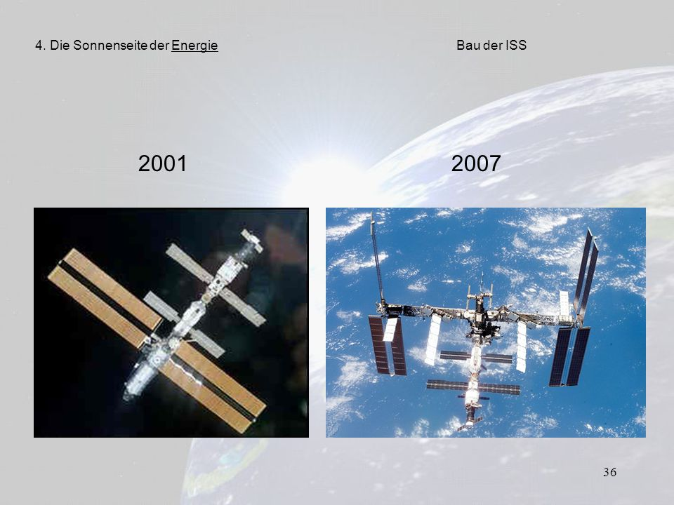 36 2001 2007 4. Die Sonnenseite der EnergieBau der ISS