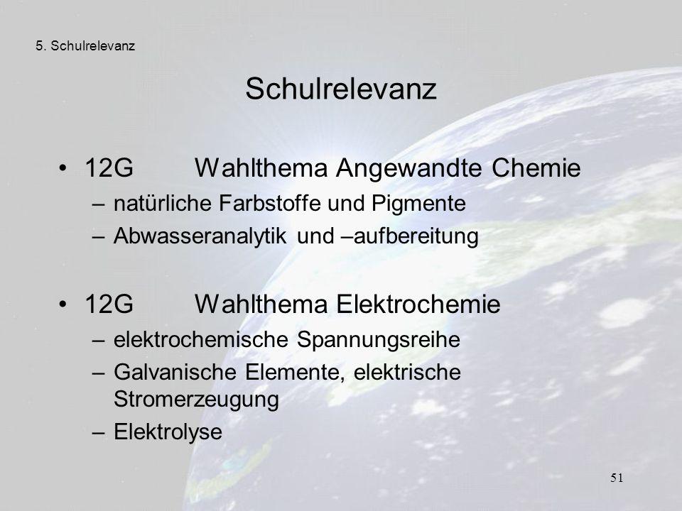 51 Schulrelevanz 12G Wahlthema Angewandte Chemie –natürliche Farbstoffe und Pigmente –Abwasseranalytik und –aufbereitung 12GWahlthema Elektrochemie –e