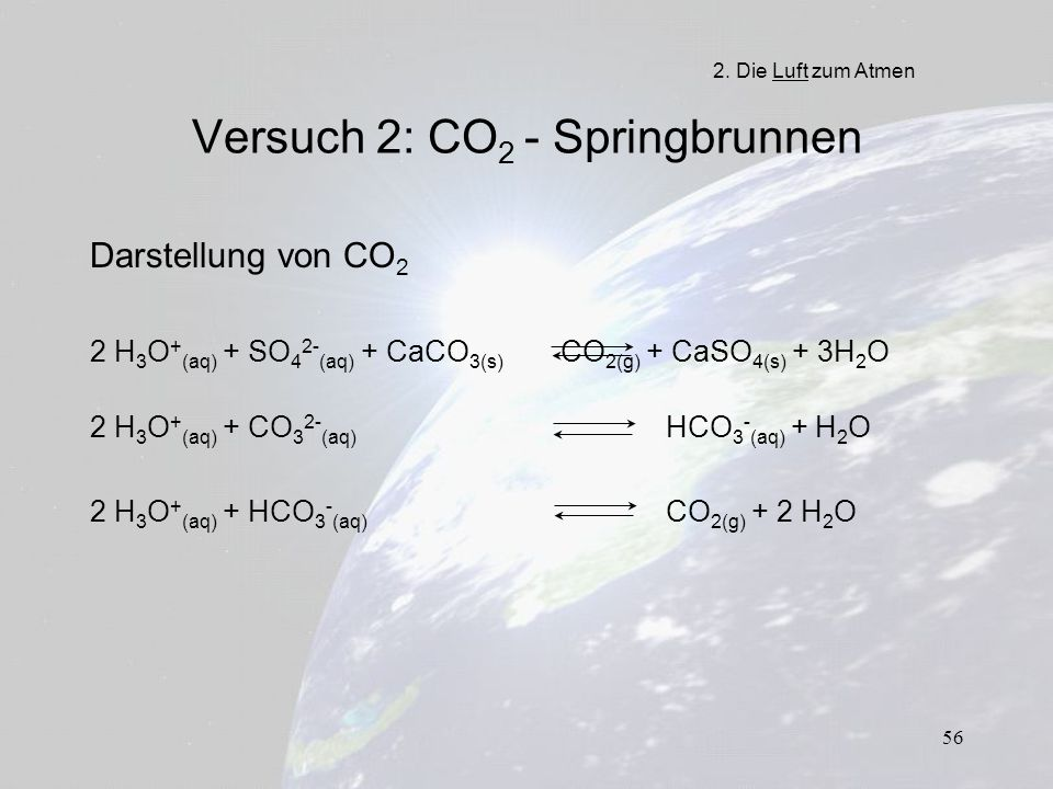 56 Versuch 2: CO 2 - Springbrunnen Darstellung von CO 2 2 H 3 O + (aq) + SO 4 2- (aq) + CaCO 3(s) CO 2(g) + CaSO 4(s) + 3H 2 O 2 H 3 O + (aq) + CO 3 2