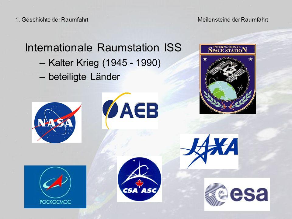 6 Internationale Raumstation ISS –Kalter Krieg (1945 - 1990) –beteiligte Länder 1. Geschichte der RaumfahrtMeilensteine der Raumfahrt