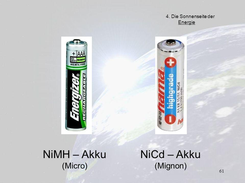 61 NiMH – Akku (Micro) NiCd – Akku (Mignon) 4. Die Sonnenseite der Energie