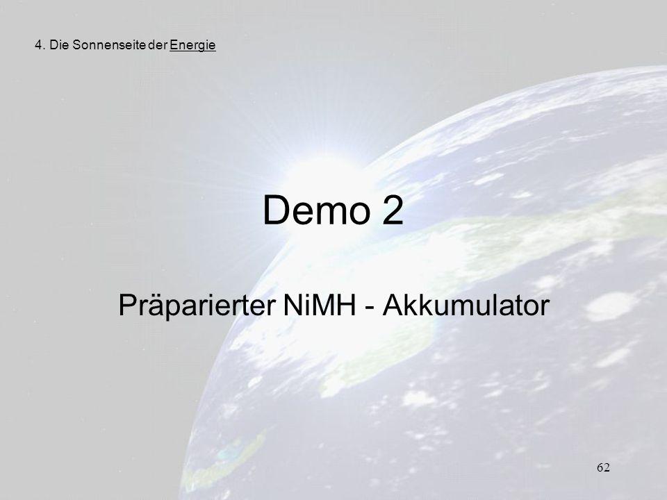 62 Demo 2 Präparierter NiMH - Akkumulator 4. Die Sonnenseite der Energie