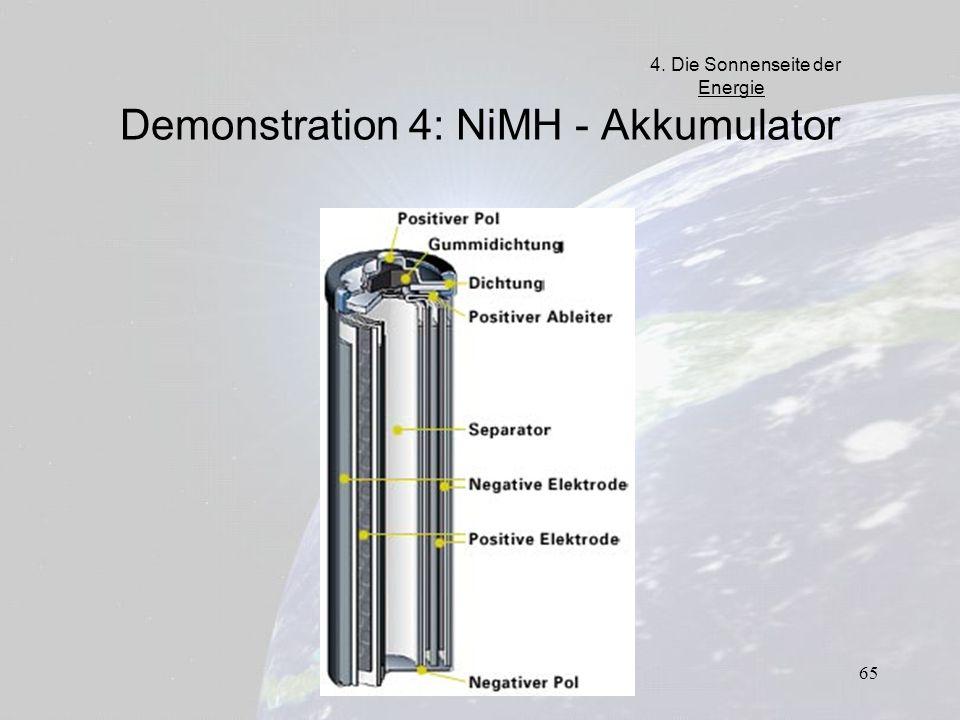 65 Demonstration 4: NiMH - Akkumulator 4. Die Sonnenseite der Energie