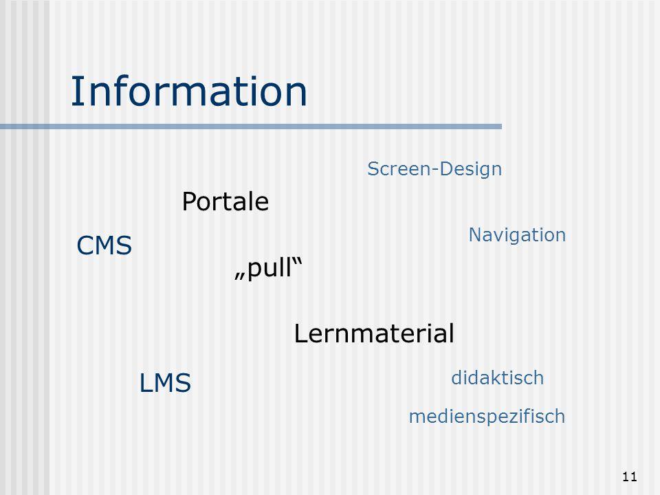 "11 Information Portale ""pull Lernmaterial didaktisch medienspezifisch Screen-Design Navigation CMS LMS"
