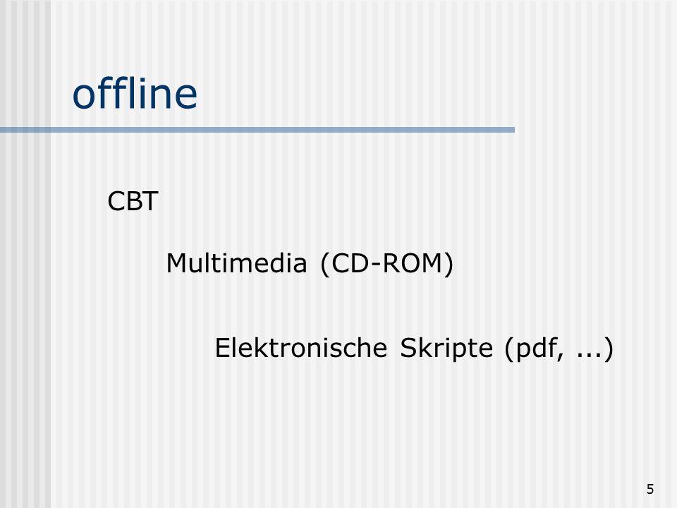 5 offline CBT Multimedia (CD-ROM) Elektronische Skripte (pdf,...)