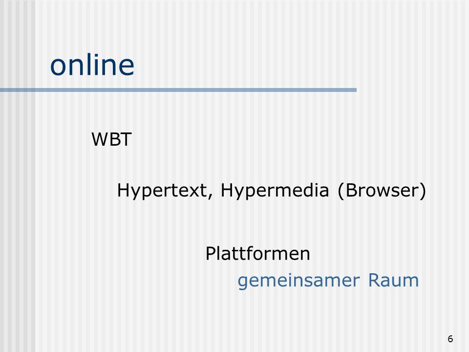 6 online WBT Hypertext, Hypermedia (Browser) Plattformen gemeinsamer Raum