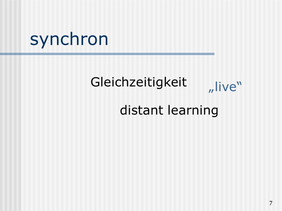 """7 synchron Gleichzeitigkeit distant learning """"live"""