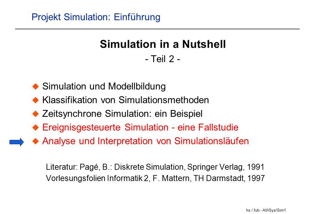 hs / fub - AWSys/Sim1 Projekt Simulation: Einführung Simulation in a Nutshell - Teil 2 -  Simulation und Modellbildung  Klassifikation von Simulationsmethoden  Zeitsynchrone Simulation: ein Beispiel  Ereignisgesteuerte Simulation - eine Fallstudie  Analyse und Interpretation von Simulationsläufen Literatur: Pagé, B.: Diskrete Simulation, Springer Verlag, 1991 Vorlesungsfolien Informatik 2, F.