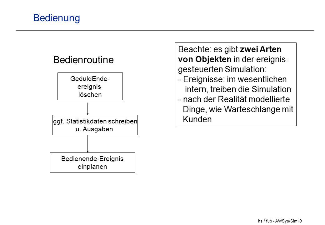 hs / fub - AWSys/Sim19 Bedienung Bedienroutine GeduldEnde- ereignis löschen ggf.