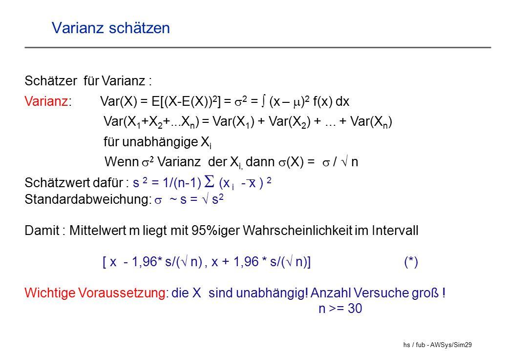 hs / fub - AWSys/Sim29 Varianz schätzen Schätzer für Varianz : Varianz: Var(X) = E[(X-E(X)) 2 ] =  2 =  (x –  ) 2 f(x) dx Var(X 1 +X 2 +...X n ) = Var(X 1 ) + Var(X 2 ) +...