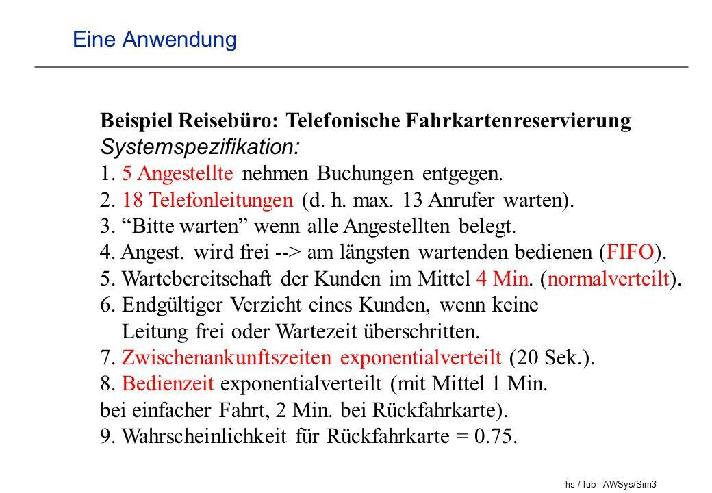 hs / fub - AWSys/Sim4 Zufallszahlen Im richtigen Leben hat man es oft mit Zufallszahlen (Zufallsgrößen) zu tun: - die Zahl beim Würfeln - die Wartezeit beim Bäcker (zwischen 7 und 8) - die Zeit zwischen zwei Anrufen beim Kartenservice....