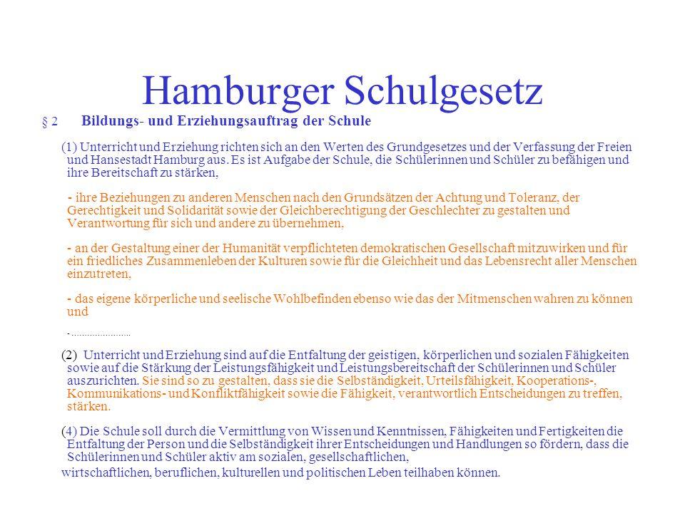 Hamburger Schulgesetz § 2 Bildungs- und Erziehungsauftrag der Schule (1) Unterricht und Erziehung richten sich an den Werten des Grundgesetzes und der