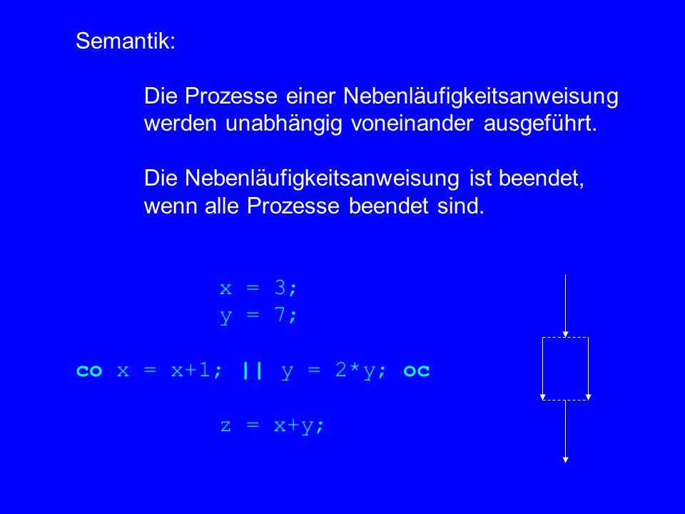 Semantik: Die Prozesse einer Nebenläufigkeitsanweisung werden unabhängig voneinander ausgeführt.