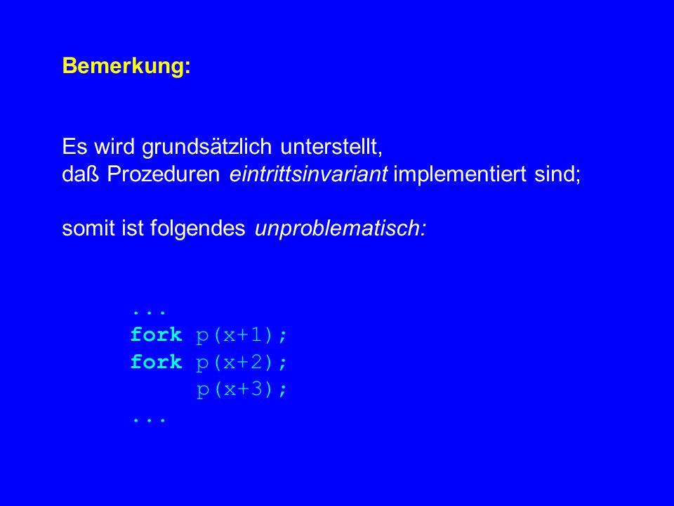 Bemerkung: Es wird grundsätzlich unterstellt, daß Prozeduren eintrittsinvariant implementiert sind; somit ist folgendes unproblematisch:...