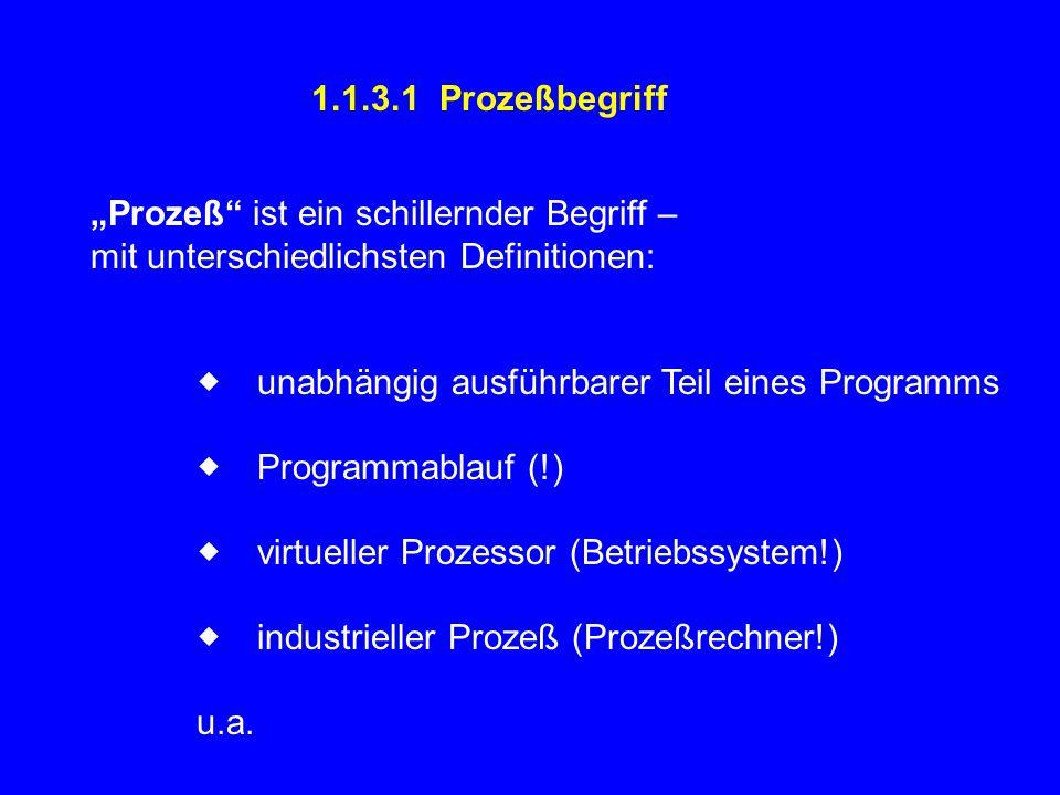 """1.1.3.1 Prozeßbegriff """"Prozeß ist ein schillernder Begriff – mit unterschiedlichsten Definitionen:  unabhängig ausführbarer Teil eines Programms  Programmablauf (!)  virtueller Prozessor (Betriebssystem!)  industrieller Prozeß (Prozeßrechner!) u.a."""