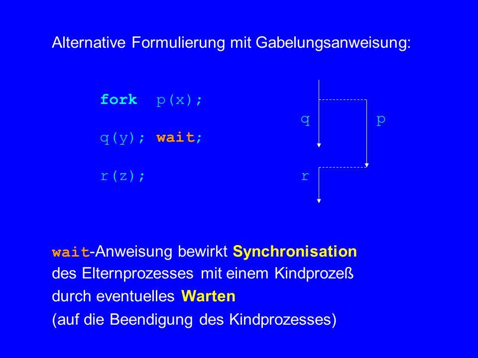 Alternative Formulierung mit Gabelungsanweisung: fork p(x); q p q(y); wait; r(z); r wait -Anweisung bewirkt Synchronisation des Elternprozesses mit einem Kindprozeß durch eventuelles Warten (auf die Beendigung des Kindprozesses)