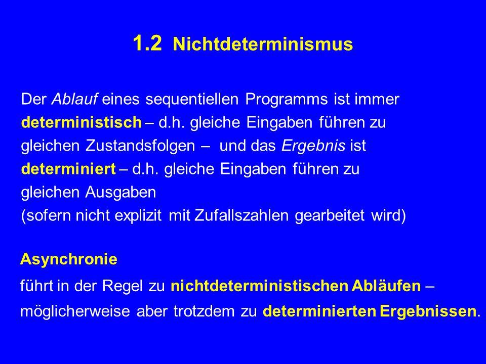 1.2 Nichtdeterminismus Der Ablauf eines sequentiellen Programms ist immer deterministisch – d.h.