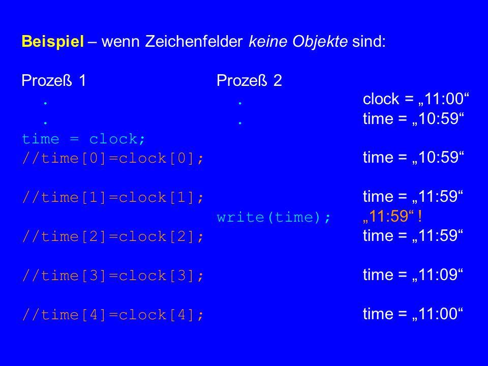 Beispiel – wenn Zeichenfelder keine Objekte sind: Prozeß 1Prozeß 2..
