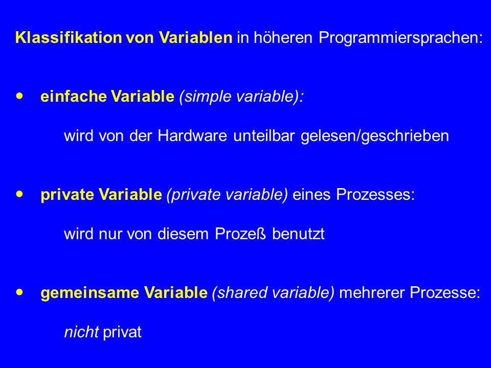 Klassifikation von Variablen in höheren Programmiersprachen:  einfache Variable (simple variable): wird von der Hardware unteilbar gelesen/geschrieben  private Variable (private variable) eines Prozesses: wird nur von diesem Prozeß benutzt  gemeinsame Variable (shared variable) mehrerer Prozesse: nicht privat