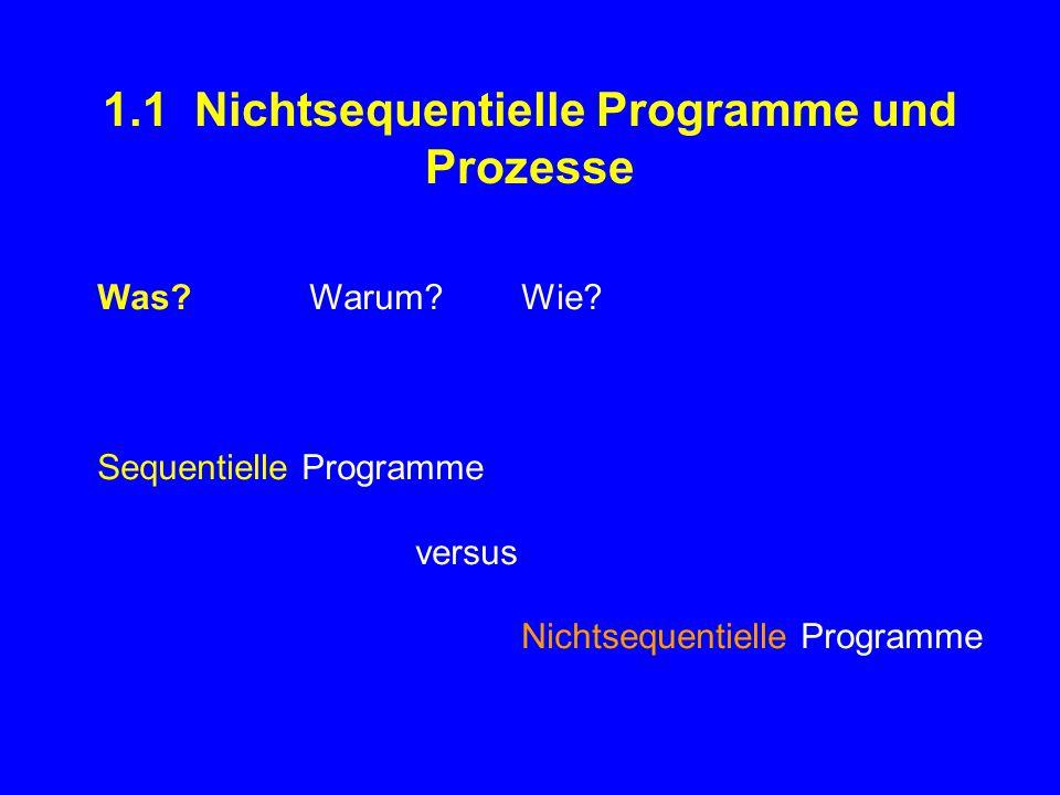1.1 Nichtsequentielle Programme und Prozesse Was Warum Wie.