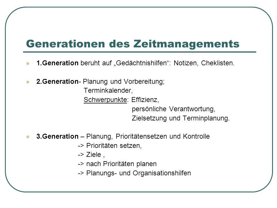 """Generationen des Zeitmanagements 1.Generation beruht auf """"Gedächtnishilfen"""": Notizen, Cheklisten. 2.Generation- Planung und Vorbereitung; Terminkalend"""